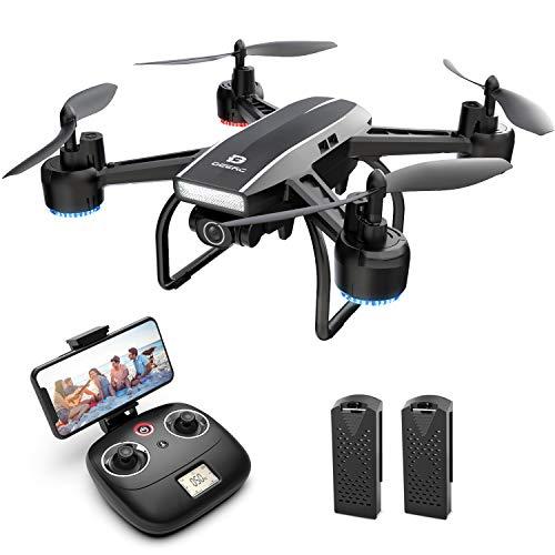 DEERC D50 FPV Drohne mit 2K Kamera HD 120° FOV 1080P WiFi Live Übertragung,RC Quadrocopter mit 2 Akkus Lange Flugzeit,Höhenhaltung,Handy Steuerung,Tap Fly,Headless Modus,3D Flip für Kinder Anfänger