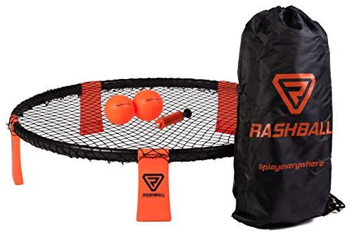 Rashball Roundnet Set | PRO ist bei Uns Standard | Extra verstärkter Ring | Für Anfänger und Profis | #playeverywhere: Park, Strand & Halle | Set inkl. 2 Bällen, Ballpumpe, Rucksack & Regeln