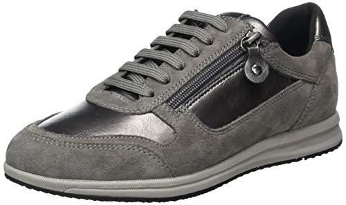 Geox Damen D Avery A Sneaker, Grau (Gun/Dark Grey), 41 EU