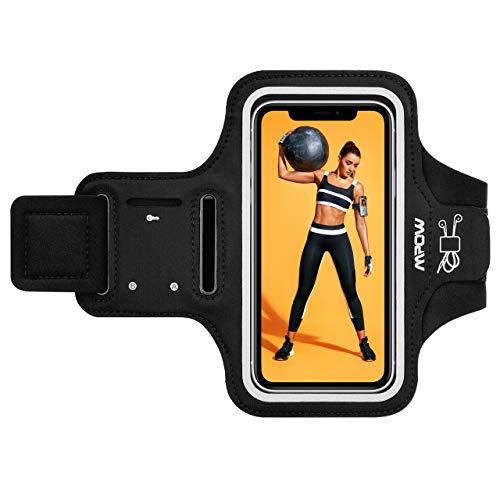 Mpow Sportarmband Handy für iPhone 11 Pro Max/XS Max/XR/ 8 Plus/7 Plus Samsung S9 Plus bis zu 6, 5 Zoll, Schweißfest Sportarmband mit Reflektivband, Kopfhörer-Slot Key Slot, für Jogging, Radfahren