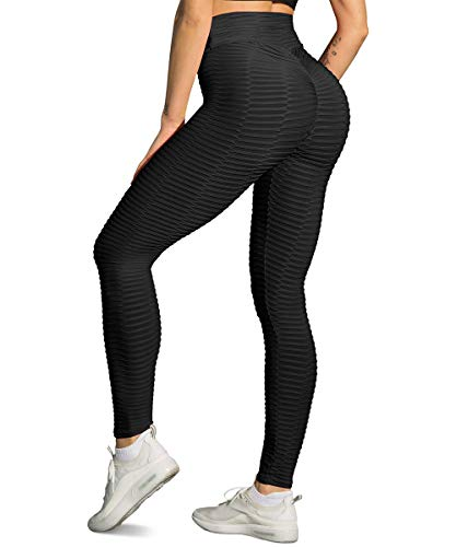 Yaavii Damen Gym Sport Leggings Kompressions Yoga Fitness Hose Lange Sporthose Stretch Workout Laufen Jogginghose mit Bauchkontrolle Schwarz L