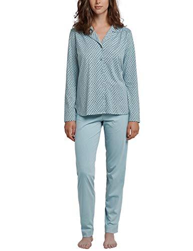 Schiesser Damen Pyjama lang Zweiteiliger Schlafanzug, Grün (Jade 713), 40 (Herstellergröße: 040)