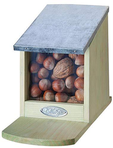 Esschert Design Futterhaus, Futterstation für Eichhörnchen mit Metalldach, Deckel klappbar, ohne Nüsse, ca. 12,2 cm x 23 cm x 17,5 cm