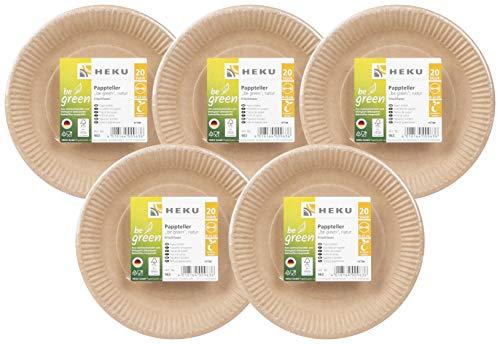 HEKU 30963: 100 Bio-Pappteller be Green, rund, Ø23cm, Frischfaser, FSC-Zertifiziert,