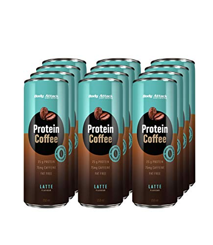 Protein Coffee Latte, 12 x 250ml, Eiskaffee mit Koffein, Arabica-Kaffeegetränk, erfrischendes Milchmischgetränk fettarm mit 25 g Eiweiß