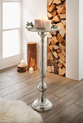 "Deko Säule ""Silber"" aus Metall Antik Look Kerzen Halter Ständer Stütze Objekt"