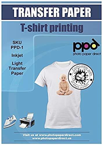 PPD A4 x 10 Blatt PREMIUM Inkjet T-Shirt Transferpapier für Tintenstrahldrucker - Transparente Transferfolie speziell für helle Textilien und geeignet für Bügeleisen und Thermopresse - PPD-1-10N