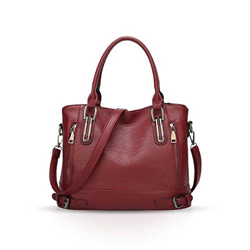 NICOLE & DORIS Damen handtaschen Elegante Umhängetasche Große Kapazität Schultertasche Ladies Shopper PU Leder Tragetaschen Weinrot