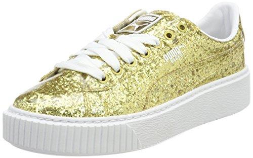 PUMA Damen Basket PlatformGlitter Sneaker, Gold (Gold-Gold), 39 EU