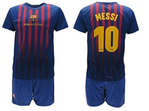 Komplett Offiziell Shirt und Short Fußball Lionel Leo Messi 10 Barcelona Blau Grana Home Saison 2018-2019 Replica OFFIZIELLE mit Lizenz (14 Jahre)