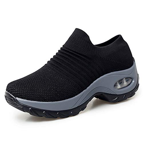 XPERSISTENCE Sneaker & Sportschuhe für Damen Fitness Leichte Mesh Atmungsaktive Wanderschuhe Schwarz&Grau Größe 41