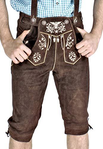 Engelleiter Bayrische Herren Trachten Lederhose, Trachtenlederhose mit Trägern und Smartphone Tasche, braun Gr. 48