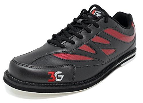 Bowling-Schuhe, 3G Cruze, Damen und Herren, für Rechts- und Linkshänder, 2 Farben, Schuhgröße 36-46 (44,5, Schwarz/Rot)