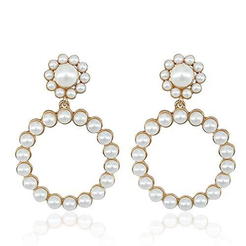 ESIVEL Trendy Kristall große runde Anhänger Ohrringe Frauen Mode Perle Charme elegante Aussage Schmuck Hochzeit Braut Party Ohrring EC550