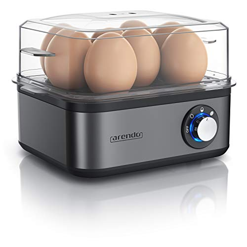 Arendo - Eierkocher Edelstahl für 1 bis 8 Eier - Egg Cooker - 500 W – Kontroll Leuchte – Drehregler für drei Härtegrade - spülmaschinengeeignet | Cool Grey