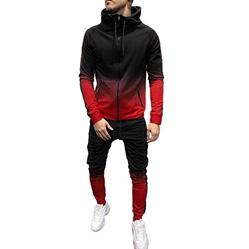 SUCES Herren Jogging Anzug Männer Sweatshirt Hose Sets Herbst Winter Hoodie Sport Casual Strickjacke Modisch Klassisch Trainingsanzug (rot,M)