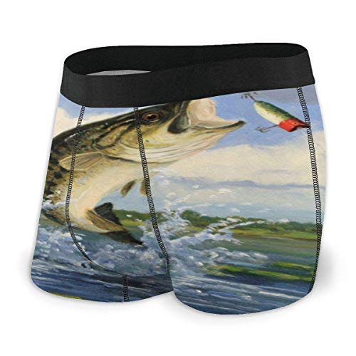 Dydan Tne Weißer Fisch springt aus der Wasserunterwäsche für Männer heraus Bequeme Boxershorts mit elastischem Bund