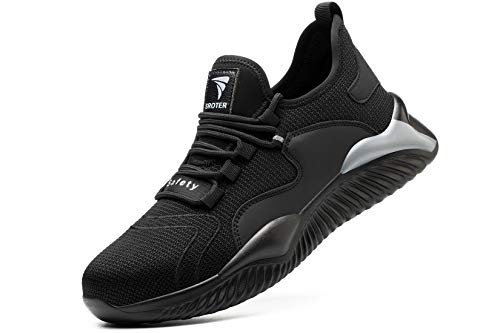 YISIQ Sicherheitsschuhe Herren S3 Arbeitsschuhe Damen Leicht Atmungsaktiv Sportlich Schutzschuhe Stahlkappe Sneaker, Grau, 44 EU