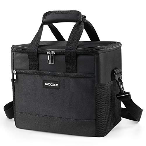 TAOCOCO Kühltasche Picknicktasche 15L faltbar Eistasche Mittagessen Isoliertasche Lunchtasche für Büro Camping, Beach Auto Outdoor Reisen (Schwarz)
