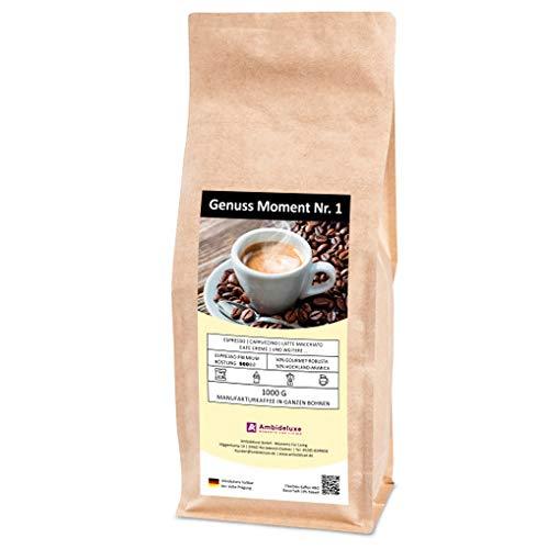 Genuss Moment Nr. 1 - Espresso Kaffee 1000 g / 1 kg - Ganze Bohnen für Kaffeevollautomaten