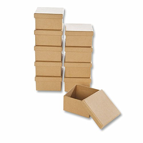 Papp-Boxen 10 Stück ECKIG 7,5x7,5x4,5cm Bastelboxen mit Deckel - Schachteln zum Gestalten und Aufbewahren von Bastel-Materialien