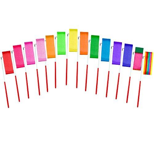 Aneco 14 Stücke Tanzbänder Streamer Rhythmische Gymnastik Band Stäbe für Kinder Künstlerische Tanzen Taktstock Twirling, 14 Farben