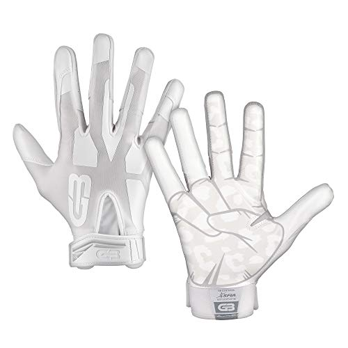 GRIP BOOST Cheetah Peace Football Gloves Pro Elite - Adult Sizes (White, Large)