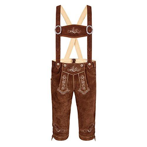 ALMBOCK Trachtenlederhose Herren Kniebund - Herrenlederhosen braun aus robustem Rindsleder - bayrische Herren Trachten Lederhose - Lederhose gr 60