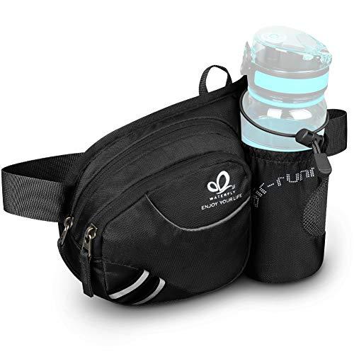 WATERFLY Taille Tasche mit Flaschenhalter Damen und Herren, Atmungsaktiv Hüfttasche mit Reflektorstreifen für Laufen Radfahren Camping Klettern Reisen für iPhone 6/7/8 Plus Samsung 6,10 Zoll