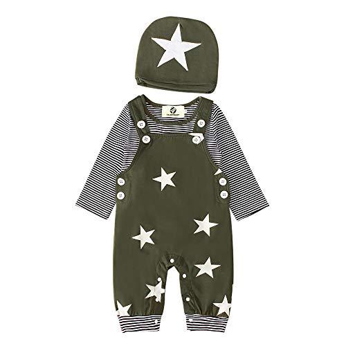 T TALENTBABY Prämie Reine Baumwolle Set Kleidung, Neugeborenes Baby Strampler Star Kleidung Sets, Hosen Tops Hut Cute Jumpsuit Outfit Body, Armeegrün, 9-12 Monate