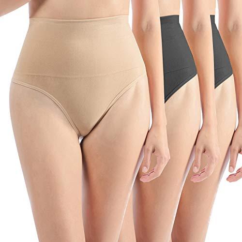 Libella 3er Pack Damen Hohe Taille Miederslip Shapewear Bauch Kontrolle String Tanga Figurformende Miederhose Unterwäsche 3612 Schwarz Schwarz Beige S/M