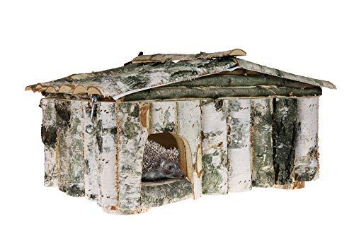 ECO-STAND Igelhaus Igelhütte XXL 58x35x29 Winterfest mit Boden und Labyrintheingang, 18 mm Kiefernholz von innen und handangepasste Birkenelemente von außen, Katzensicher, Wasserfest