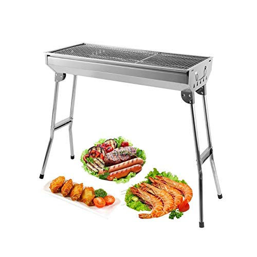 AGM Holzkohlegrill, 680 x 320 x 730 mm | Großer Grill, faltbar für 5 ~ 10 Personen | dicker Edelstahl | für Picknick, Reisen, Garten, Camping