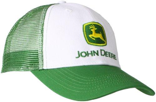 John Deere NCAA Herren-Baseballkappe mit Markenlogo und Netzrücken - Wei - Einheitsgröße