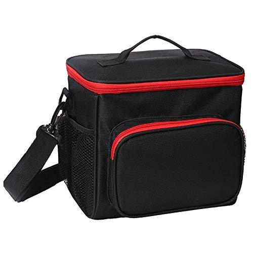 esonmus Kühltasch Klein,Lunch Tasche Lunchtasche Wasserdicht Leichte Picknicktasche Mittagessen Isoliertasche Thermotasche für Arbeit und Schule (Schwarz Rot)