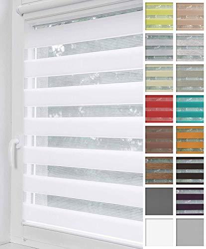 Home-Vision® Duo Rollo Klemmfix, Doppelrollo ohne Bohren mit Klämmträgern, Rollos für Fenster und Türen (Weiß, B70cm x H150cm)
