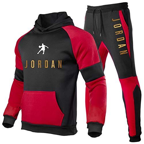 Jordan Trainingsanzug für Herren, Hoodie und Jogginghose, modischer Kapuzenpullover, 2-teiliger Jogginganzug, Bulls #23 Jordan, Herren-Übergröße, Logo Gr. M, 10