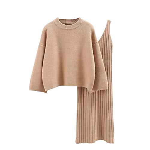semen Damen Strick Kleid Set Oberteil Pullover Frauen Clubwear Blues und Rock Bodycon 2 teiliges Set Minikleid aus Strick Pullover Dress Kleid (One Size, Kahki)