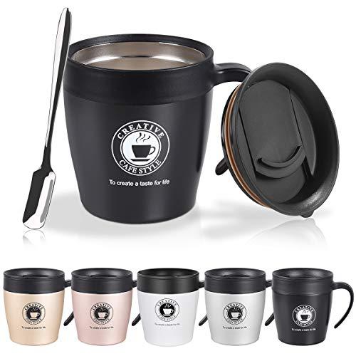 Vabaso 330ML Thermobecher, Coffee to Go Becher mit BPA-frei Deckel, Griff und Kleine Kaffeelöffel, Doppelwand Isolierung, Edelstahl Trinkbecher für Tee Kaffee Cocktails Bier Schwarz