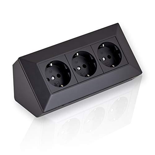 Eck-Steckdose Aufbaumontage 3x Schuko schwarz, für Küche, Büro, Werkstatt. 3-Fach-Steckdosenleiste ideal für Küchen-Arbeitsplatte, Aufbausteckdose oder Unterbausteckdose