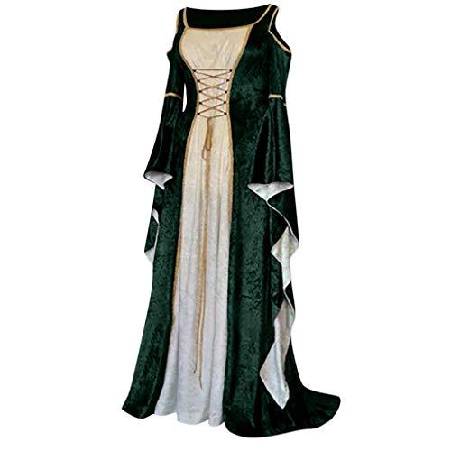 Yuwegr Damen Mittelalter Kleid Renaissance Gothic Court Retro Frauen Kleider Party Cosplay Kostüm Schulterfrei Prinzessin Kleider Langarm Bodenlangen Ballkleider Halloween Kleidung (S, Grün)