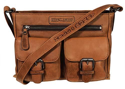 Hill Burry Damen Handtasche | aus weichem hochwertigem Rindsleder - Vintage Elegante Abendtasche | Umhängetaschen Schulterbeutel - Fashion Bag Beutel | Shopper - Schultertasche (Braun)