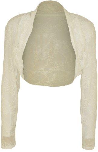 WearAll - Damen Übergröße Langarm Spitze Bolero Kurz Jacke Top - Crème - 52-54