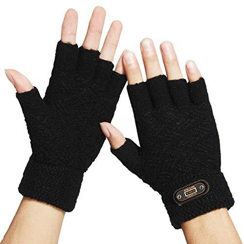 DOVAVA Handschuhe Fingerlose Herren,Halbfinger Handschuhe Herren Touchscreen,Strickhandschuhe Herren Schwarz Dunkelgrau und Khaki mit weichem Innenfutter (Schwarz Halb)