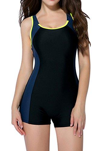 Charmo Damen Einteiliger Sport Badeanzug mit Beinen Elastische Bademoden Racerback L