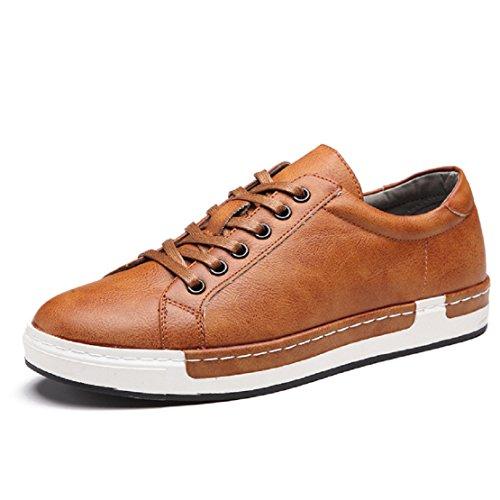 NEOKER Herren Skateschuhe Leder Sneaker Freizeitschuhe Outdoor Sport Schuhe Schnürhalbschuhe Turnschuh Business Gelb 45 EU/ Herstellergröße- 275