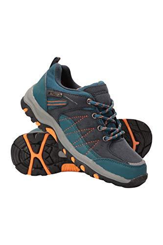Mountain Warehouse Stampede Wanderschuhe für Kinder - Laufschuhe, wasserfeste Trekkingschuhe, Schuhe für Kinder aus Wildleder und Netzstoff Petrolblau 34
