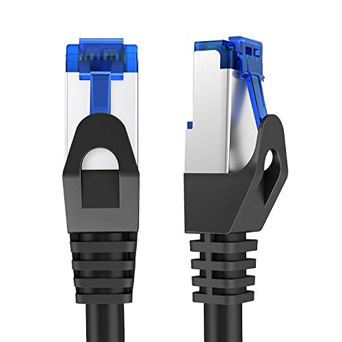 KabelDirekt - 10m - Netzwerkkabel, Ethernet, LAN & Patch Kabel (überträgt maximale Glasfaser Geschwindigkeit & ist geeignet für Gigabit Netzwerke, Switches, Router, Modems mit RJ45 Eingang, Silber)