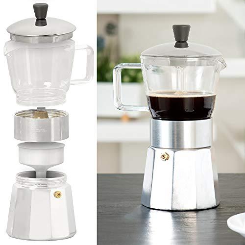 Cucina di Modena Espressobereiter: Design-Espressokocher, Kanne aus Borosilikat-Glas, 300 ml, 6 Tassen (Kaffee-Kocher)