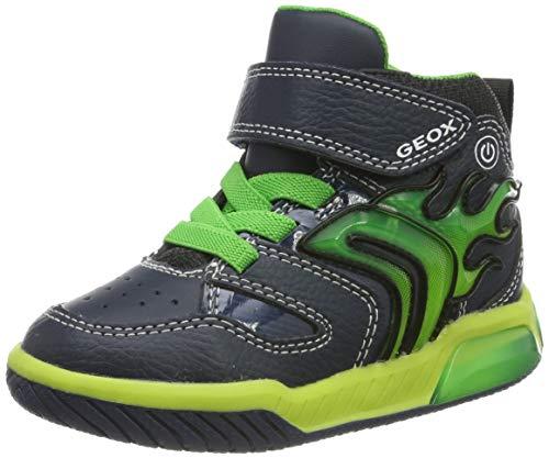Geox Jungen J INEK Boy C Hohe Sneaker, Blau (Navy/Lime C0749), 34 EU